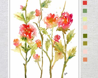 Fresh Pick Roses, Print from Watercolor Painting, Watercolor Flowers