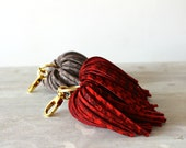 Houndstooth Printed Pompom Suede Leather Tassel Keychain