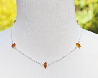 Sea Glass Jewelry Beach Eternity Necklace in Amber Brown 16 Inch 2627C