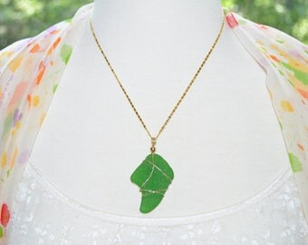 Sea Glass Jewelry Beach Necklace Large Green 14k Gold Filled 1673