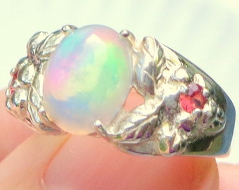 Sz 5 3/4, Welo Opal, Sterling Silver Ring, Orange Sapphire Accents, Pastel Color play Opal, Pink,Blue,Green,Yellow,Lavender Ethiopian Opal