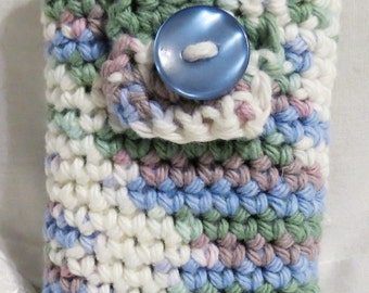Handmade Crocheted Cell Phone Pouch Spring Ombre, White, Blue, Green, Purple 100% Cotton, Clearance