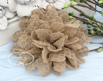 Cocoa Powder - Dahlia Embossed Fabric Flower Millinery for Bridal Sashes, Fascinator, Hat Design, Home Decor, Hair Accessories, Tan Flowers.