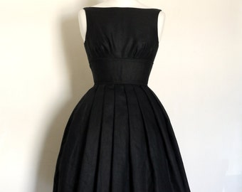 Size UK 6-18 - Black Linen Tiffany Prom Dress - Made by Dig For Victory