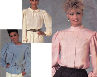 80s Blouse Pattern McCall's 8812 High Neck Steampunk Blouses Vintage Sewing Pattern Size 14 Bust 36 UNCUT Factory Folded