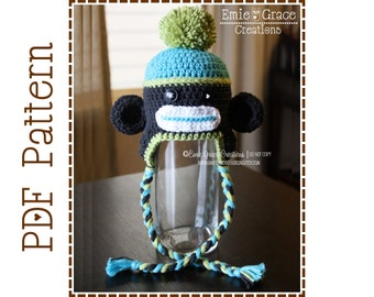 Sock Monkey Hat Crochet Pattern, 8 Sizes from Newborn to Adult, SEDRIC and SADIE Sock MONKEY - pdf 129