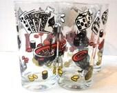 Casino Gambling Drinking Glasses Set of 8