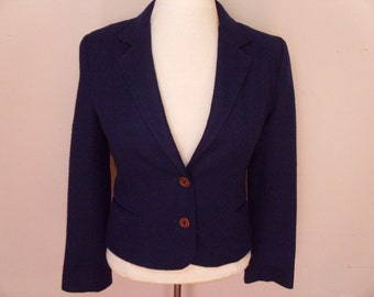 Vintage 1960's/1970's  Navy Blue  Wool Jacket  Small/Extra Small