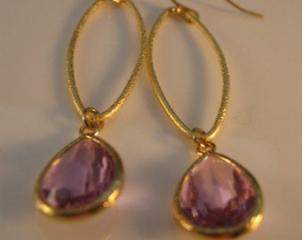 Gold Hoop Earrings, bezel earrings, dangle earrings, pink earrings, gold earrings, fuschia earrings, earrings, drop earrings, hoop earrings