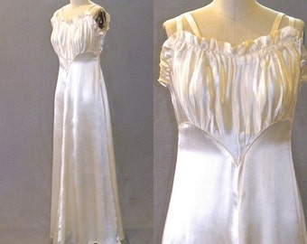 Vintage 1940s Evening Dress, Ivory Satin 40s Wedding Dress, Bias Cut Gown