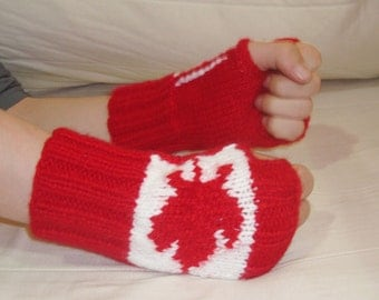 Canada Flag Fingerless Gloves - Canada Fingerless Gloves - Canadian Flag - Mens - Womens - White, Red Maple Leaf - valentines day outfit men