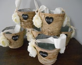 Rustic Birch Bark Flower Girl Basket Bucket Rustic Wedding You choose colors and flowers Ivory ranunculus shown