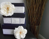 Victorian Wedding Card Box 3 tiered Lapis, Dark Purple with White Lace, White Roses  Personalized Custom Made You choose colors and flowers
