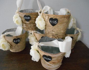 Rustic Birch Bark Flower Girl Basket Bucket Rustic Wedding You choose colors and flowers Ivory ranunculus shown