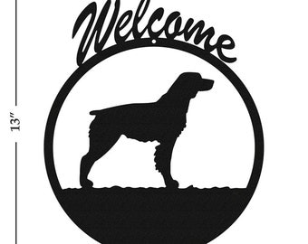Dog Brittany Spaniel Black Metal Welcome Sign