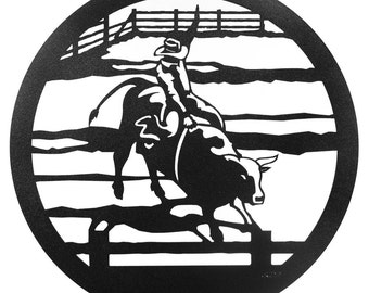 Hand Made Bull Rider Cowboy Horse Scenic Art Wall Design *NEW*