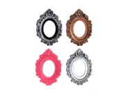 Set of 2 Retro Scrolling Gothic Style Open Back Vintage Style Frame for Cabochon or Cameo 39mm x 65mm 30mm x 40mm Silver Pink Gold Antique