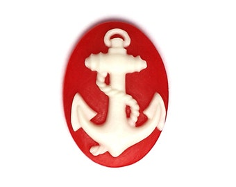 12 Color Choices Set of 2 Anchor Ahoy Mate Sailor Nautical Cameos 40mm x 30mm