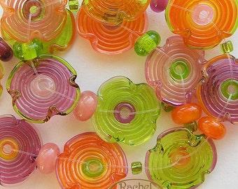 Lampwork Flowers Glass Beads, FREE SHIPPING, Handmade Joyful Colors Glass Disc Beads and Donuts Beads, Rachelcartglass