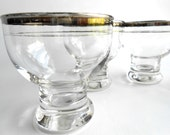 Retro Silver Trimmed Cordial or Shot Glasses Set of Four