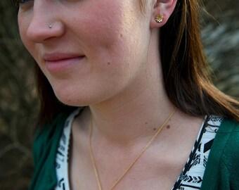 18K Gold Vermeil Tiny Sedum Rosette Posts -- Botanical Earrings -- Nature Cast -- Ready to Ship