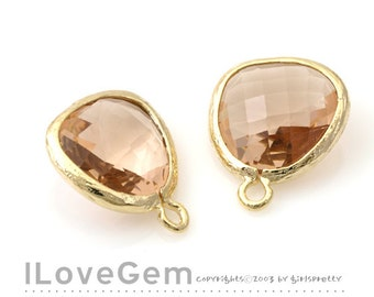 P1750 Gold plated, Peach, Glass fancy rosecut 12.5mm, Glass pendant, Framed glass, 2pcs