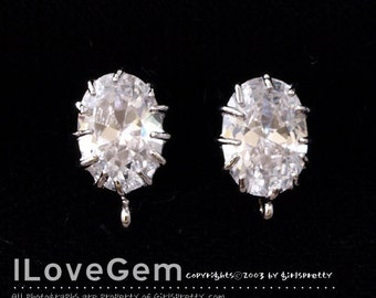 SALE/ 10pcs / NP-1566 Rhodium plated, Oval CZ. Earrings, 925 sterling silver post