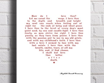 Printable Valentine poem How Do I Love Thee Elizabeth Barrett Browning quote DIY valentine gift romantic heart poetry poster wall art 8x10""