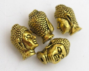 Antique Gold color  Tibetan Buddha beads - 2 beads- BD407