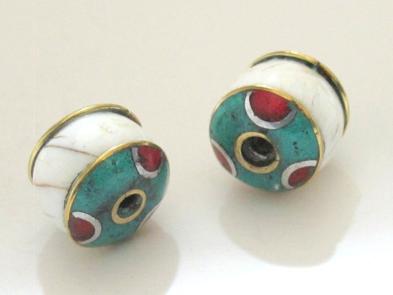 2 BEADS - Thick ethnic naga conch shell bead  with brass turquoise coral inlay  - CH038A