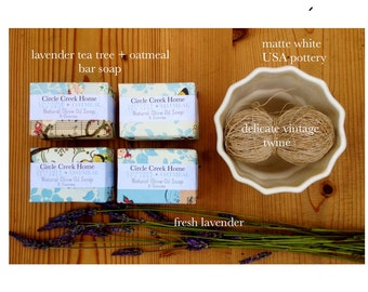 4 Bar Collection Handmade Lavender Tea Tree + Oatmeal Soap FREE Shipping
