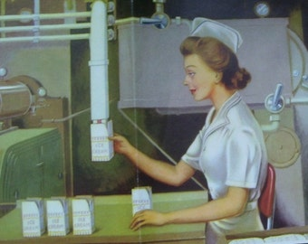 1945 Ice Cream Print, WW2 print, Poster Print, Lady Working,National Dairy Council, Chicago, Filling Packages with Ice Cream , Art Print.