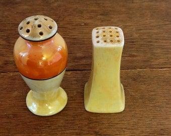 Vintage Lusterware Salt and Pepper Shakers - Iridescent - Art Deco