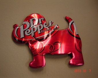 Puppy Dog Christmas Ornament or Magnet-Recycled Soda Can Art- made from a Dr. Pepper Soda Pop Can