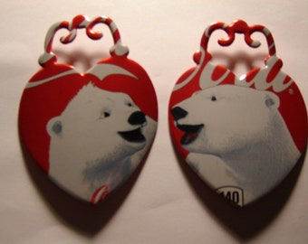 Recycled Soda Can Art- Polar Bear Locket magnets or ornaments- Coca Cola Soda Can set of 2