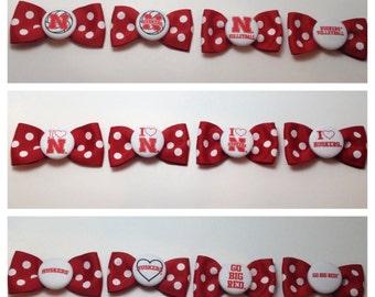 Nebraska Husker Officially Licensed Red and White Polka Dot Hair Bow - 20 design choices