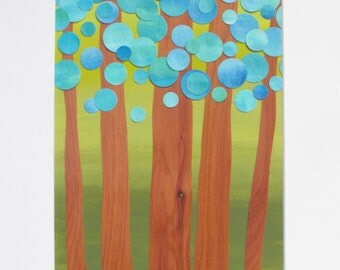 Original Collage - Forest - Clean Modern Geometric - Real Cedar Wood Painted Circles in Blue and Aqua with a Green Ombre Background