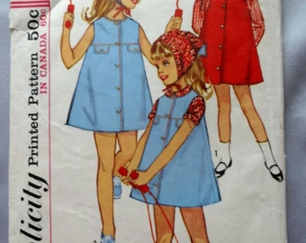 Simplicity 5550, Vintage, Girls' Dress or Jumper, Blouse and Scarf Sewing Pattern, from 1964, Child Size 5