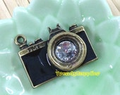 Antique Brass Black Camera Charm, 1 pc