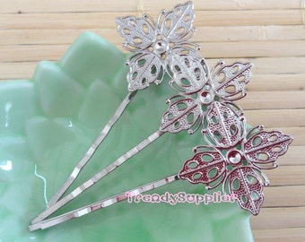 10 Pcs Silver Plated Bobby Pin with 19mm Square Filigree, Nickel Free (HF014)