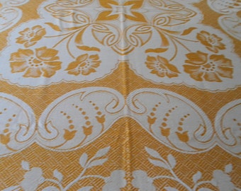 1/2 PRICE SALE Vintage Bedspread Throw Woven Yellow Floral Damask Unused Traditional Elegance