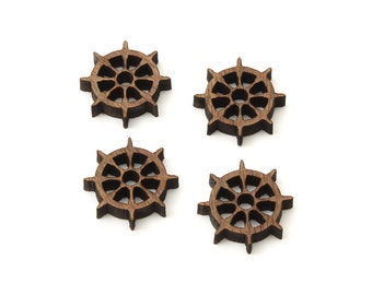 "Ship Wheel Charms - 3/4"" Size - Laser Cut Wood  Etsy Itsies by Timber Green Woods"