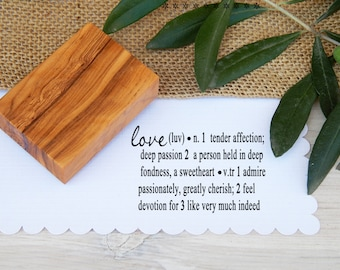 Dictionary Definition - LOVE - Olive Wood Stamp
