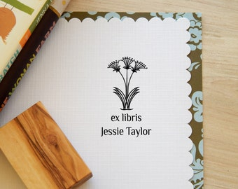 Minoan  Inspired  Flowers Bookplate Stamp on Olive Wood