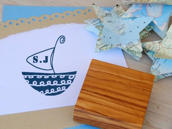 Custom Sailing Boat Olive Wood Stamp