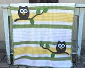 Owl Baby Blanket Green Yellow Baby Shower Gift Gender Neutral