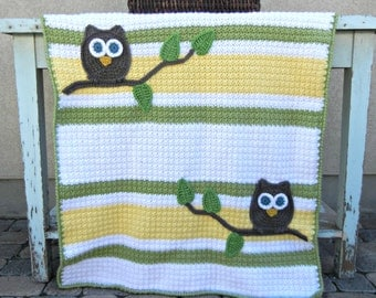 Owl Baby Blanket Green Yellow Baby Shower Gift Gender Neutral