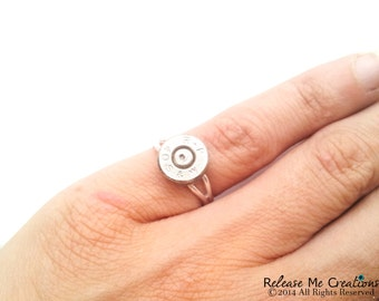 Silver Smith & Wesson Bullet Ring For Her Country Western Edgy Military Awesome