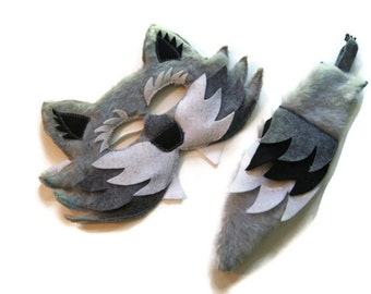 Wolf Felt Fur Mask and Tail Set, Woodland Animal Mask, Animal Birthday Party Favor, Children's Halloween Costume, Adult Mask, Adult Costume