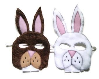 Rabbit Mask, Bunny Mask, Hare, Woodland Animal Mask, Animal Birthday Party Favor, Child's Halloween Costume, Adult Mask, Adult Costume